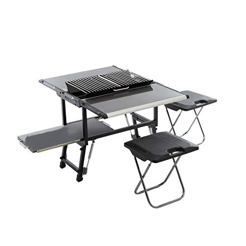 Qeedo Cookbox, Küchenbox Campingküche, Grilleinsatz und Hocker, 77x54x50cm, 10kg