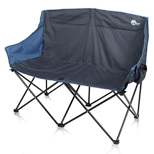 your GEAR Bari XL Campingstuhl - großes 2 Mann Camping-Sofa, Outdoor Klappstuhl mit 2 Getränkehaltern