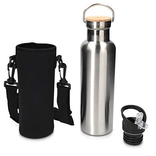 Navaris Trinkflasche aus Edelstahl 700 ml 2X Verschluss - Metall Sport Flasche...