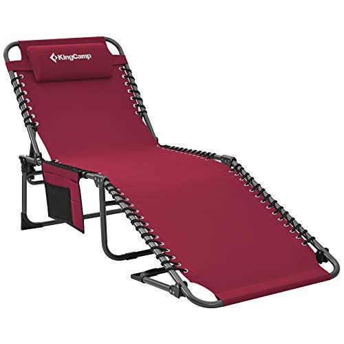 KingCamp Single Campingliege Sonnenliege Gartenliege Camping-Klappbett mit verstellbarem...