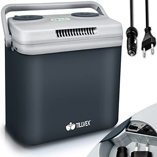 tillvex Kühlbox elektrisch 32L | Mini-Kühlschrank 230 V und 12 V für KFZ Auto Camping |...