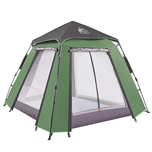 Hewolf Kuppelzelt 3-4 Personen Wurfzelt Pop up Zelt Automatisches Camping Wasserdichtes...