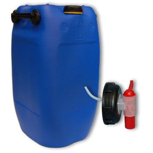 Wilai 60L Getränke- Wasserkanister Blau mit Schraubdeckel + Hahn (DIN 71) |...