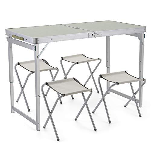 Sunkorto Picknicktisch, zusammenklappbar, mit 4 Stühlen