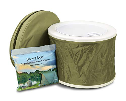 Bivvy Loo + Deckel - Tragbare Camping WC -Campingtoilette - Festival WC - Angeln Toilette - Outdoor Camping WC...