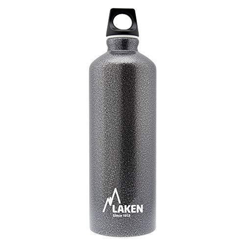 Laken Futura Alu Trinkflasche Schmale Öffnung Schraubdeckel mit Schlaufe 1,5L, Granitgrau