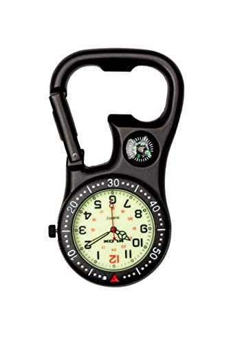 Klox Unisex-Uhr Kompass-Flaschenöffner Analoge Quarzbewegung mit Schwarz Einclipsen...