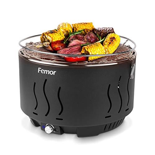 femor Rauchfreier Holzkohlegrill, Tischgrill mit Tragetasche, Grill mit USB-oder Batteriebetriebenem Lüfter,...
