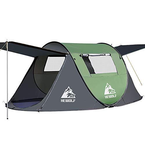 HEWOLF Wurfzelt 2-3 Personen Pop Up Camping Zelt mit Vorzelt Automatik Ultraleichtes...