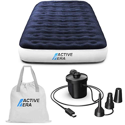 Active Era Luxus Camping Einzel Luftbett mit elekrischer Luftpumpe - Luftmatratze für 1...
