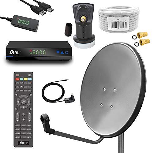 Digital Sat Anlage 60 cm Spiegel inkl. ARLI AH1 HD Receiver + Single LNB + 10m Koax Kabel...
