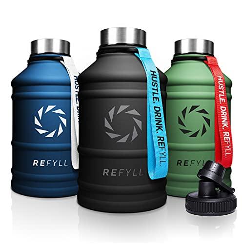 """REFYLL X Edelstahl Trinkflasche """"Hero"""" in 2,2L I Fitness Trinkflasche für Sport, Gym..."""