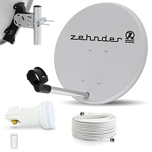 Digitale Camping Sat Anlage Spiegel 40 cm Single LNB 0,1 dB + Koaxialkabel 10m Kabel...