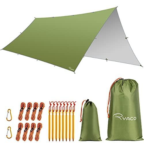 Ryaco Camping Zeltplane, 3m x 5mTarp für Hängematte, wasserdicht Leicht Kompakt...