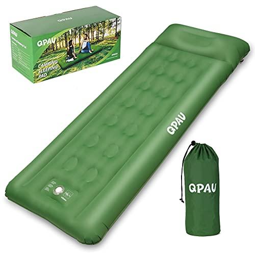 QPAU Isomatte Camping, Aufblasbare Luftmatratze mit Fußpresse Pumpe für Backpacking und...