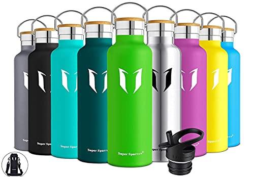 Super Sparrow Trinkflasche Edelstahl - 750ml - Auslaufsicher Thermoskanne, BPA-Frei...