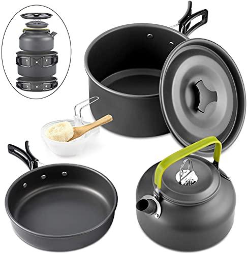 Queta 10-Teilig Cookware Kit Picknick Töpfen Kochgeschirr Campinggeschirr Set für 2-3...