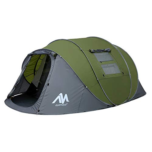 Zelt 4-6 Personen Wasserdicht, Pop up Zelte Familienzelt [5 Fenster] Riesiges Camping Zelt...