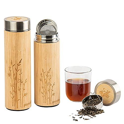 pandoo Bambus Thermobecher - doppelwandige Thermoflasche, Reisebecher, Teebereiter,...