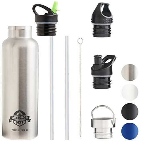 OUTDOOR DEPT Isolierte Edelstahl Trinkflasche 750 ML 4 Deckel BPA frei für Kohlensäure....