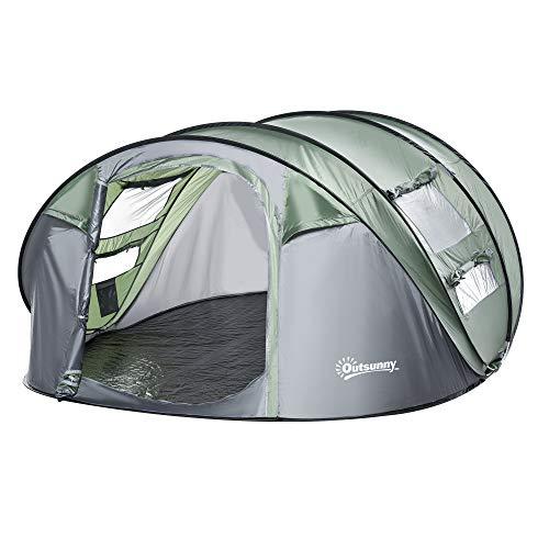 Outsunny Zelt für 4-5 Personen Campingzelt mit Heringen Kuppelzelt Polyester B3 Gitter...