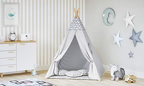MALATEC Tipi Zelt für Kinder Spielzelt Indianer Baumwolle 3 Kissen Kinderzelt drinnen...