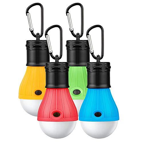 ASANMU Camping Lampen LED, 4 Stücke LED Campinglampe Campingleuchte mit Karabiner...