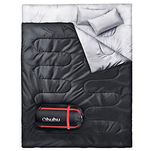 Doppelschlafsack, Ohuhu Schlafsack 220 x 150cm Erwachsene Deckenschlafsack mit 2 Gratis...