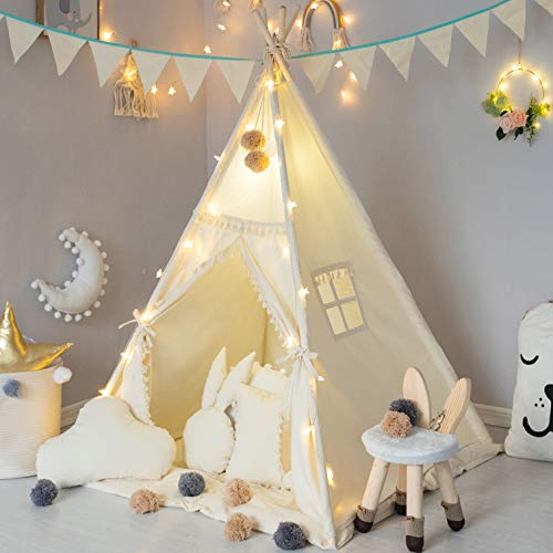 TreeBud Kinder Tipi Zelt mit gepolsterter Matte, Banner, Lichterkette, Wollknäuel,...