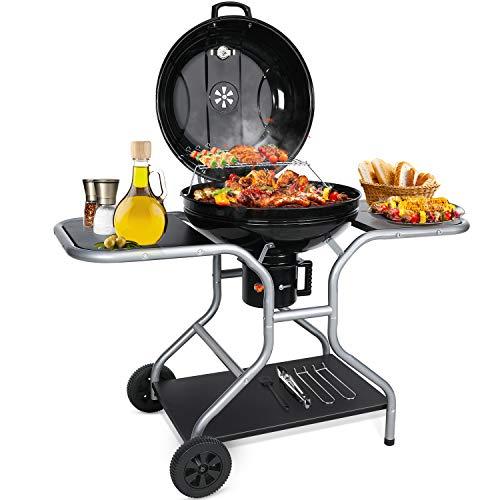 Aiglam BBQ Grill, Holzkohlegrill Kugelgrill 58cm Babecue Grill BBQ Smoker Tragbar mit...