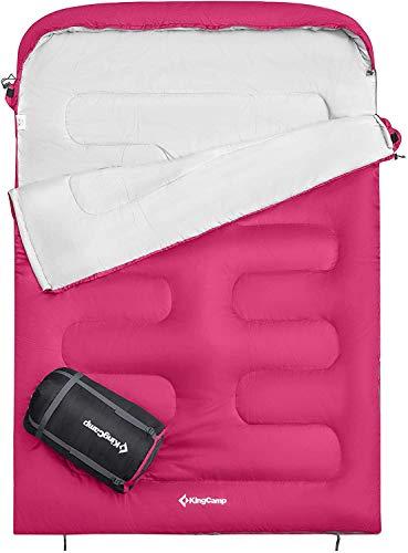 KingCamp Oasis Doppelschlafsack Deckenschlafsäcke mit Kopfteil für 2 Personen 3 Jahreszeiten, Rosa, 235 ×...
