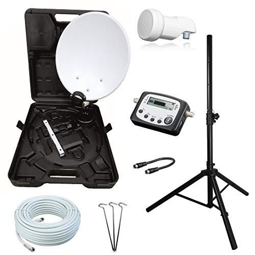 netshop 25 Camping SAT Koffer Schüssel mit HD Single LNB und 10m Kabel + Digital...