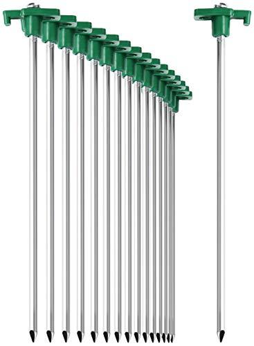 com-four® 16x Zelt-Heringe aus Stahl - Lange und robuste Erdnägel mit Halterung aus...