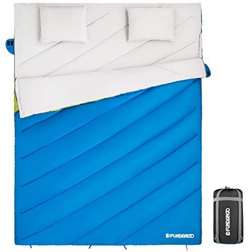 FUNDANGO XXL Breit (220x168cm) Doppelschlafsäcke für 2 Personen mit 2 Kissen für...