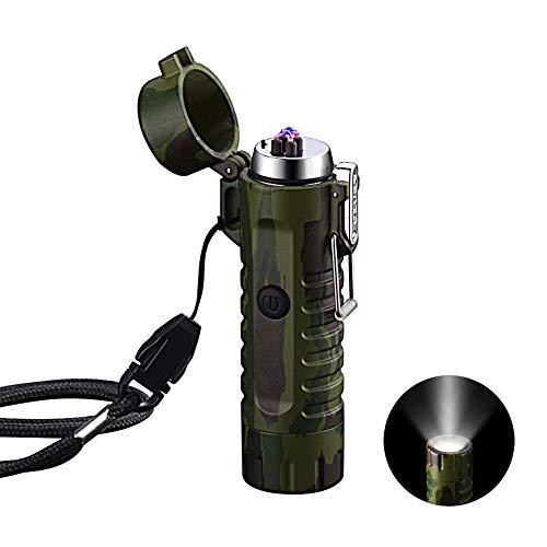 Elektrisch Feuerzeug Winddichte, USB aufladbar Feuerzeug mit Taschenlampe Flammenlos für...