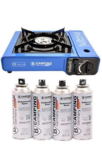 B Camping Gaskocher mit 4 Gaskartuschen Campingkocher 1-flammig max. Leistung 2,1 KW Farbe...