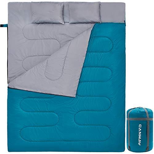 CANWAY Doppelschlafsack Deckenschlafsack 220 x 150cm für 2 Erwachsenen Sommerschlafsack...