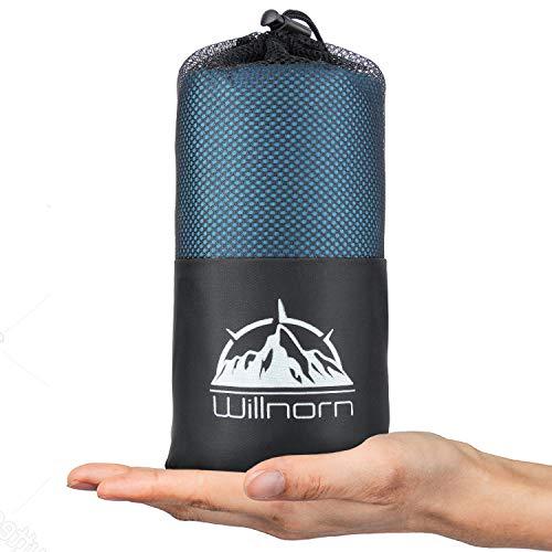 WILLNORN 2in1 Hüttenschlafsack aus Mikrofaser, mit durchgängigem Reißverschlus:...