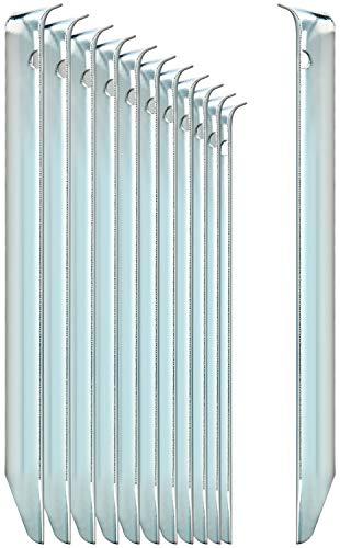 com-four® 12x Zelt-Heringe aus Stahl - halbrunde, robuste Erdnägel für Camping und...