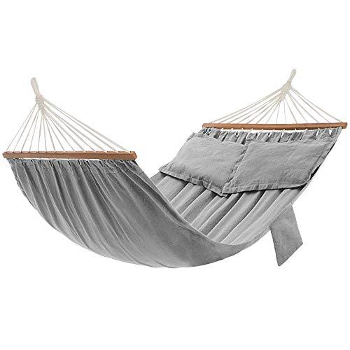 SONGMICS Hängematte, Outdoor, mit 2 Holzstangen, mit 2 Kissen, bis zu 300 kg belastbar,...