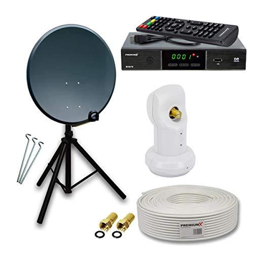 PremiumX Camping komplett SAT Anlage Set 60cm Anthrazit Antenne Single LNB Dreibein Stativ TV Kabel DVB-S2...