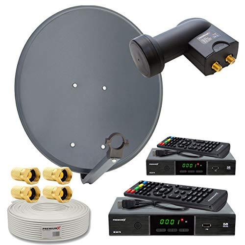 PremiumX Digitale HD SAT Anlage 2 Teilnehmer 60cm Antenne Twin LNB 25m Koax Kabel F-Stecker 2X TV DVB-S2...