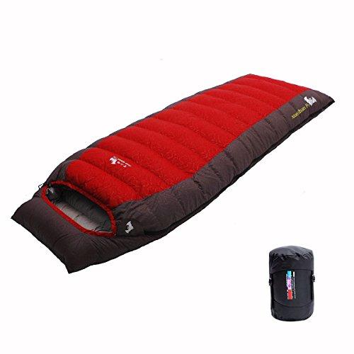 LMR Outdoor Daunenschlafsäcke Ultralight Deckenschlafsäcke für camping mit Kompression Sack (Rot)