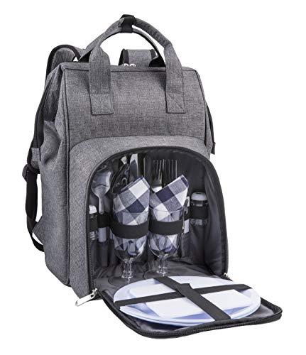 Amazon Brand – Eono 2 Personen Picknickrucksack Kühltasche mit Geschirrset & Decke