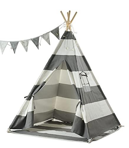 Haus Projekt Tipi-Zelt für Kinder mit Lichterkette, Wimpelkette, Aufbewahrungstasche &...