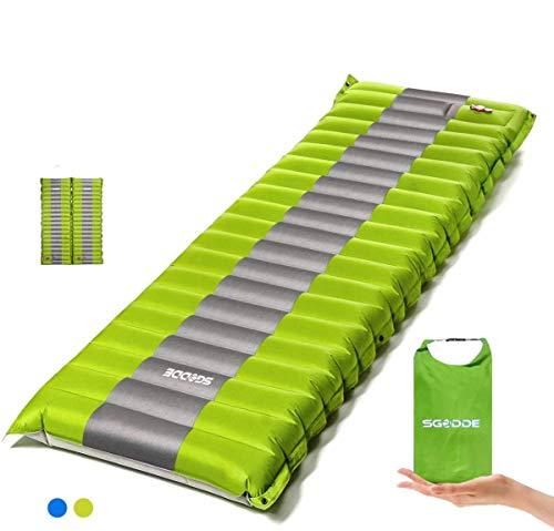 SGODDE Isomatte Camping Selbstaufblasbare,Handpresse Aufblasbare,leichte Rucksackmatte für Wanderungen zum...