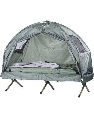 Semptec Urban Survival Technology Zeltbett: 4in1-Zelt mit Feldbett, Sommer-Schlafsack und Matratze (Liege mit...