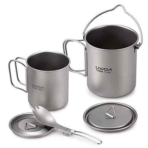 Lixada Titanium Tasse Camping Kochgeschirrset Tragbar Becher Teilbare Faltbare Griffe mit Deckeldesign für...