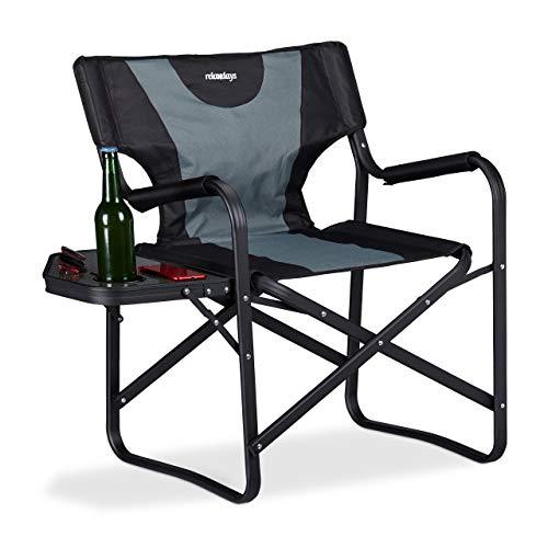 Relaxdays, schwarz-grau Regiestuhl mit Tisch, klappbarer Campingstuhl für Garten,...