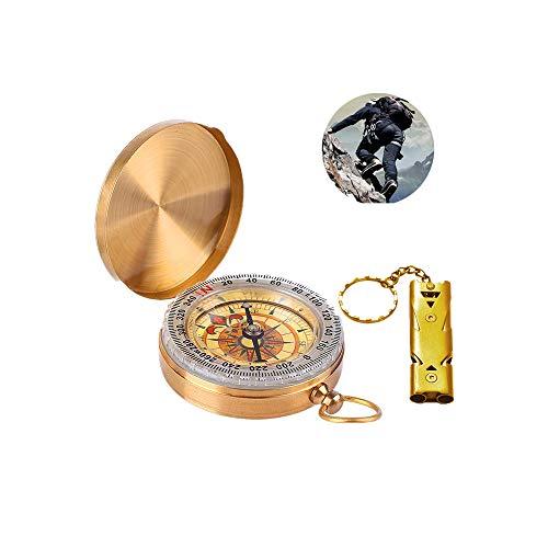 LATTCURE Kompasse und Signalpfeife, Messing Kompass, Portable Wasserdicht Kompass mit...